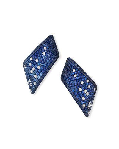 Vague Ear Clips set in Titanium w/ Blue Sapphires & Diamonds
