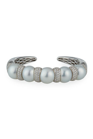 Belpearl 18k White Gold 4-Pearl Diamond Pave Cuff