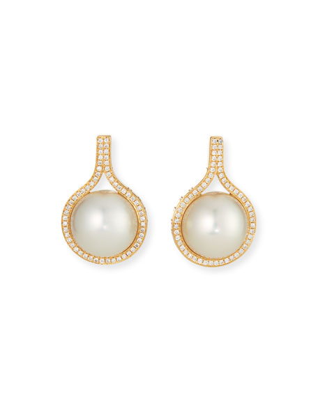 Belpearl 18k Classic Diamond South Sea White Pearl Earrings