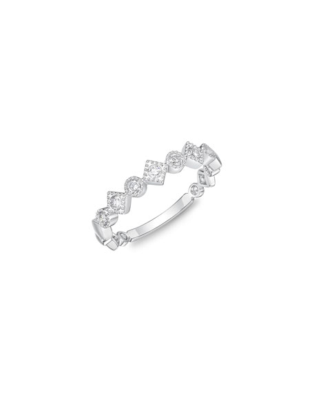Memoire Stackables 18k White Gold Diamond Round & Square Ring