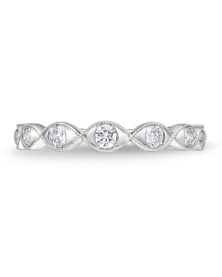 Memoire Stackables 18k White Gold Diamond Marquise Ring