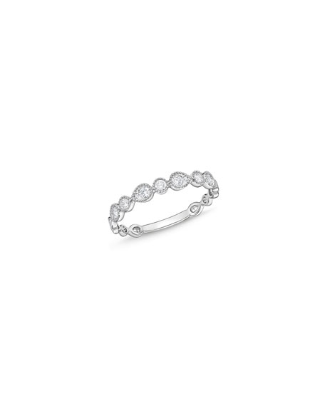 Memoire Stackables 18k White Gold Half-Round Diamond Ring, Size 6.5