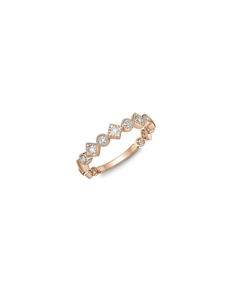 Memoire Stackables 18k Rose Gold Diamond Round & Square Ring