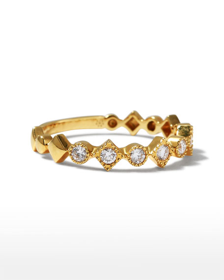 Memoire Stackables 18k Yellow Gold Diamond Round & Square Ring