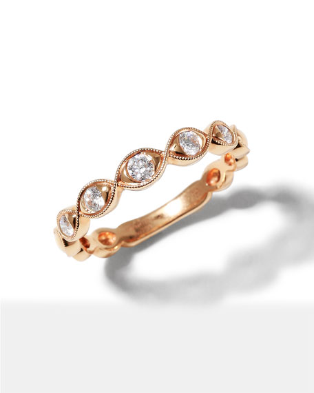 Memoire Stackables 18k Rose Gold Diamond Marquise Ring, Size 6.5