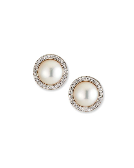 Image 1 of 2: Belpearl 18k White Gold Pearl-Stud Diamond-Halo Earrings