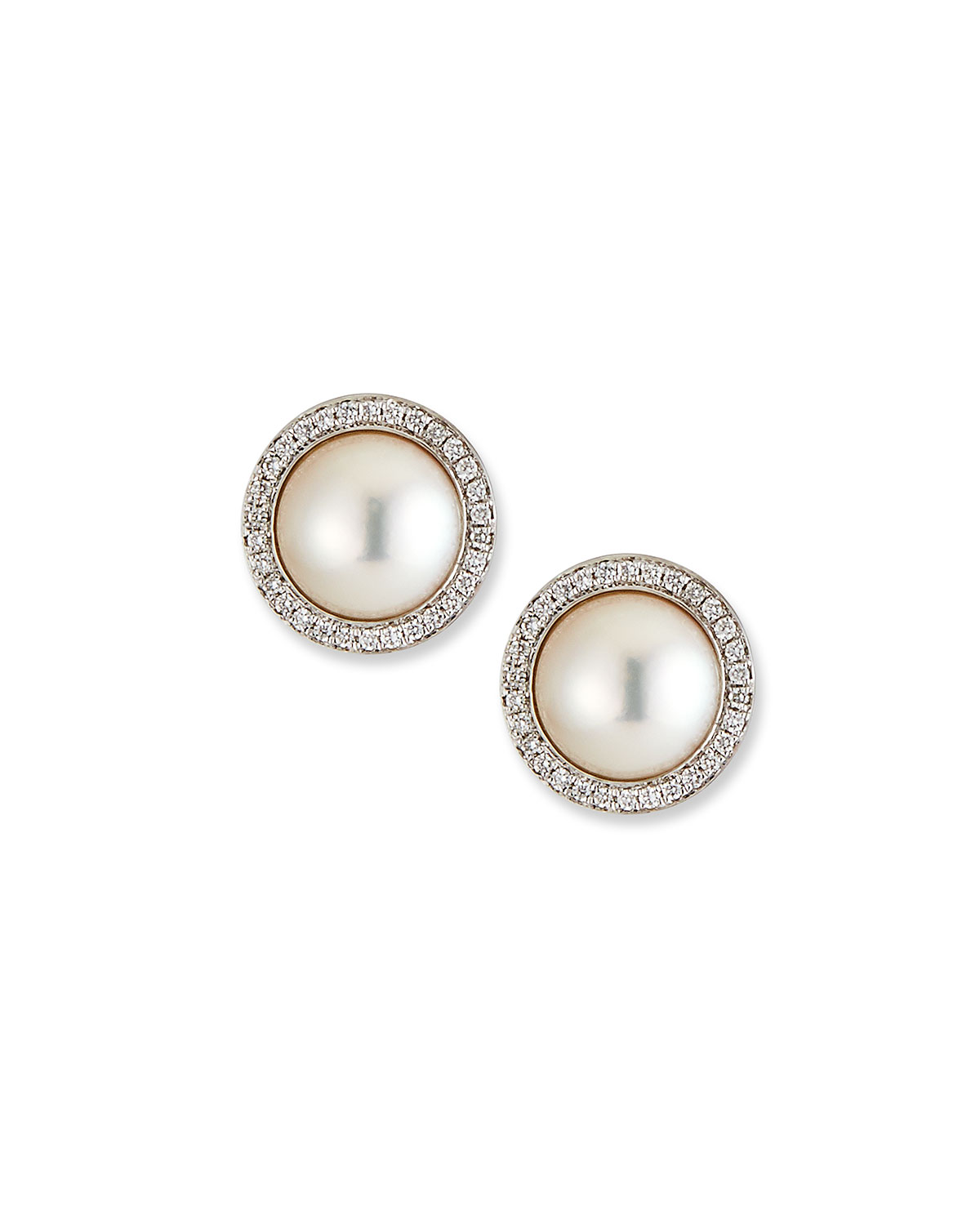 Belpearl 18k White Gold Pearl-Stud Diamond-Halo Earrings