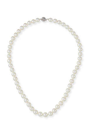 Belpearl 18k White Gold Classic Akoya Cultured Pearl Necklace, 7.5x8mm