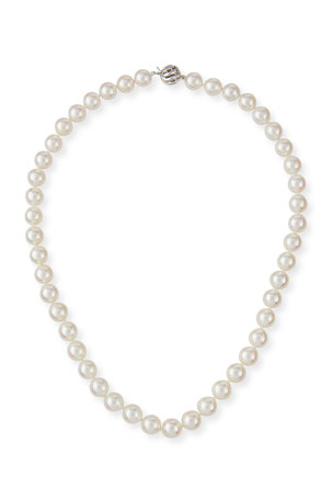 Belpearl 18k White Gold Classic Akoya Cultured Pearl Necklace, 8.5x9mm