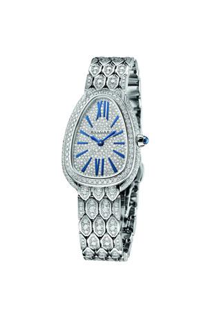 BVLGARI Serpenti Seduttori 33mm Diamond Watch w/ Bracelet, White Gold