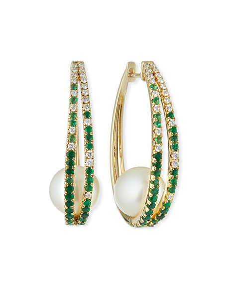 Siena Jewelry 14k Emerald & Diamond Hoop Earrings w/ Pearls
