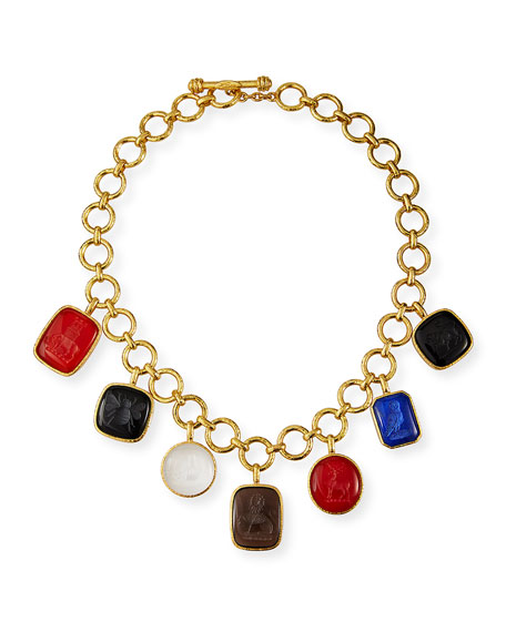 Elizabeth Locke 19k Venetian Glass Intaglio Charm Necklace