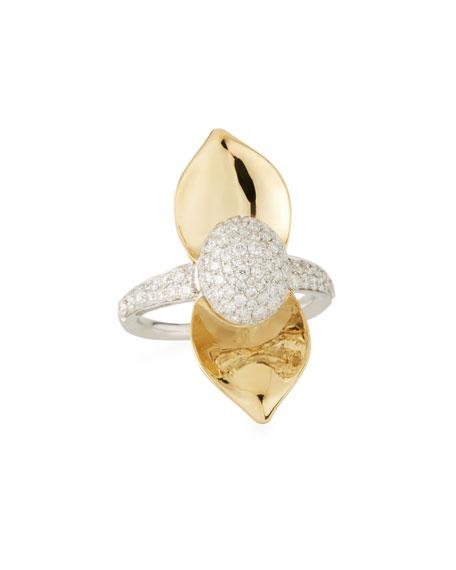 SUTRA 18K Yellow Gold Single Lotus Diamond Ring, Size 7