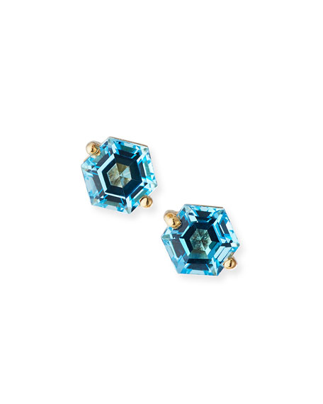 KALAN by Suzanne Kalan 14k Swiss Blue Topaz Hexagon Stud Earrings