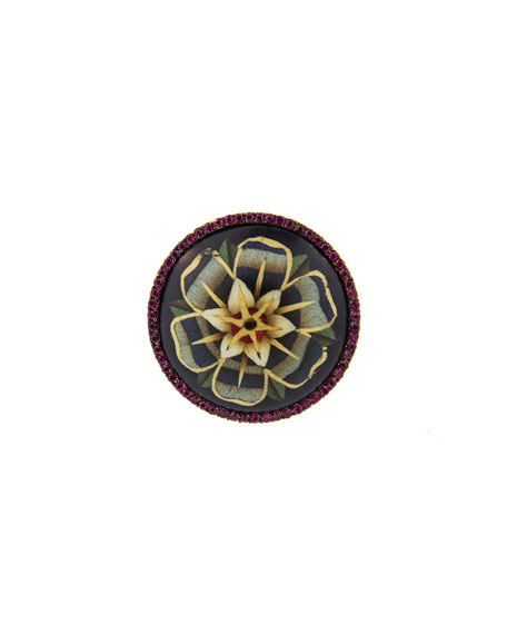 Image 2 of 2: Silvia Furmanovich 18k Marquetry Flower Ring, Size 7