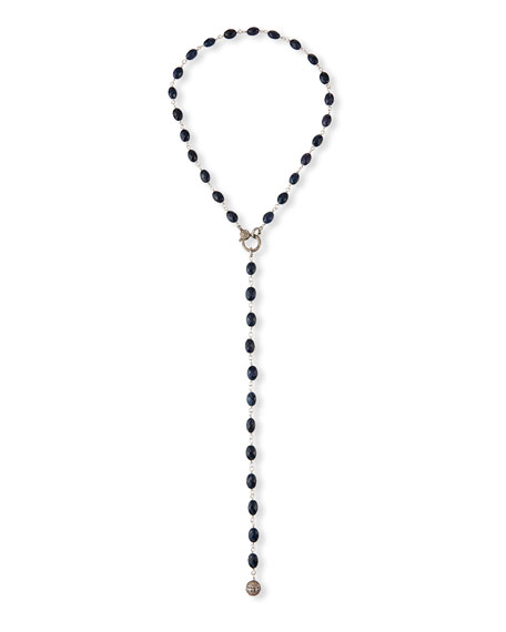 Sheryl Lowe Long Dumortierite Y-Drop Necklace w/ Diamonds