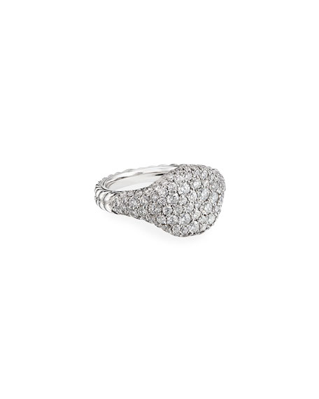 David Yurman Mini Chevron Pave Diamond Pinky Ring in 18k White Gold, Size 5.5