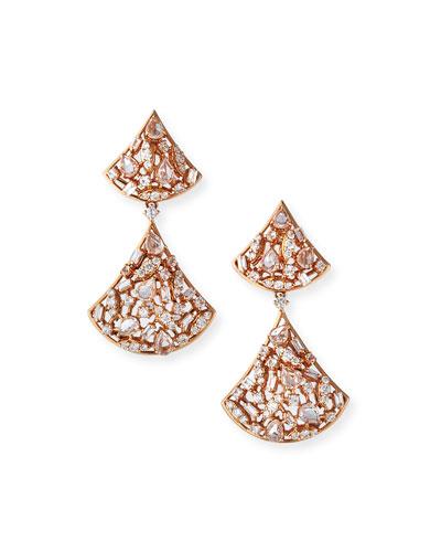 18k Diamond/Sapphire Cluster-Drop Earrings