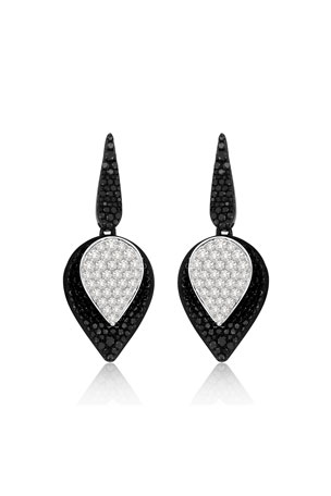SUTRA 18K White Gold Lotus Small Leaf Drop Earrings w/ Black & White Diamonds