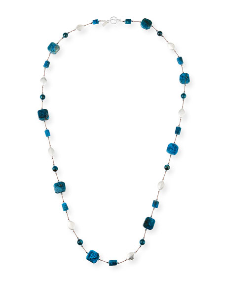 Margo Morrison Long Apatite & Crystal Necklace, 35""