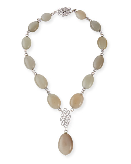 Miseno Sea Leaf 18k White Gold Diamond Moonstone Y-Drop Necklace