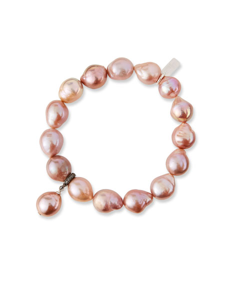 Image 1 of 2: Baroque Pink Pearl Stretch Bracelet w/ Diamonds