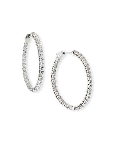 18k White Gold Diamond Inside-Out Hoop Earrings  3.36tcw