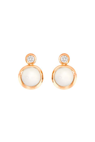 Tamara Comolli Bouton 18k Rose Gold Sand Moonstone/Diamond Post Earrings