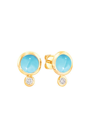 Tamara Comolli Bouton 18k Yellow Gold Turquoise/Diamond Post Earrings
