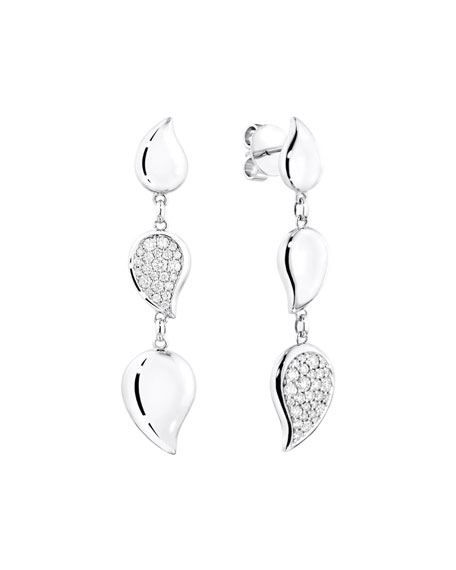 Tamara Comolli 18k White Gold Linear Diamond Leaf Earrings