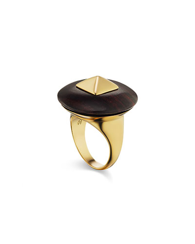 Voyager 18k Yellow Gold Wood Disk Ring  Size 6.5