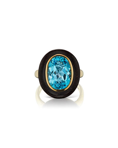 Voyager 18k Yellow Gold Blue Topaz Wood Oval Ring  Size 6.5