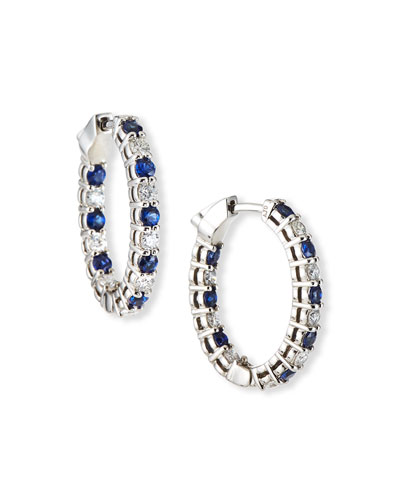 18k White Gold Diamond/Blue Sapphire Hoop Earrings