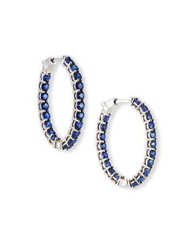 18k White Gold Medium Blue Sapphire Hoop Earrings