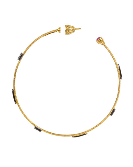 Konstantino 18k Black Diamond and Ruby Hoop Earrings