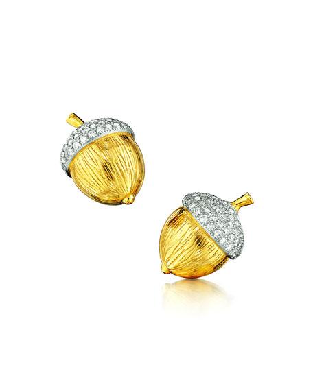 Verdura Two-Tone Acorn Diamond Clip-On Earrings
