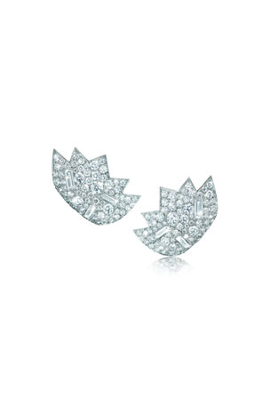 Verdura Stardust 18k White Gold Diamond Clip-On Earrings