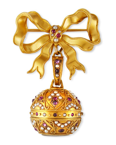 Estate 18k Pearl and Ruby Watch Pin