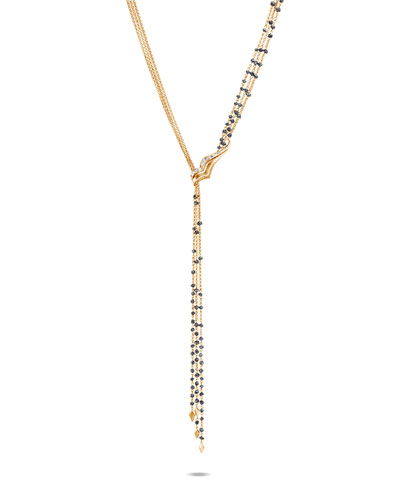 Lahar 18k Gray/White/Black Diamond Lariat