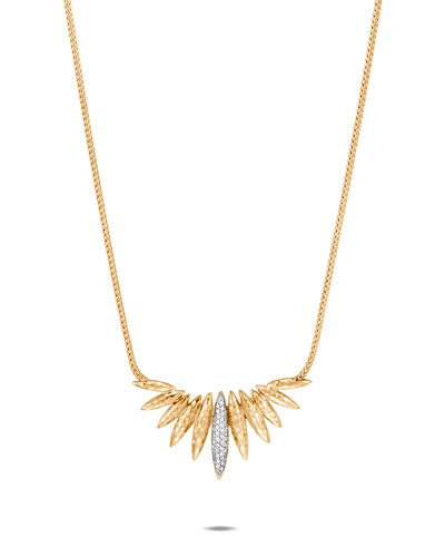 Classic Chain 18k Diamond Spear Mini Bib Necklace