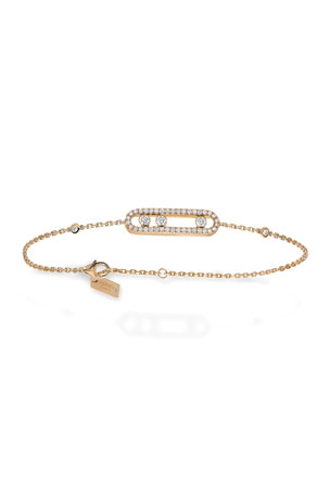 Messika Baby Move Pave Diamond Station Chain Bracelet in 18K Rose Gold