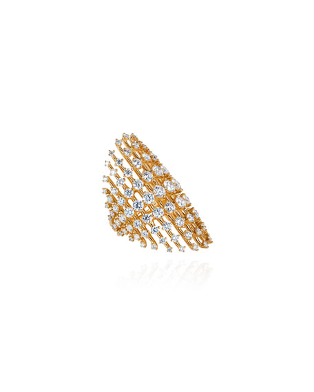 Fernando Jorge Disco 18k Gold Diamond Ring, Size 6.75
