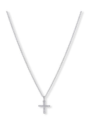 David Yurman Cable Collectibles Cross Necklace with Diamonds in Yellow/White Gold on Chain