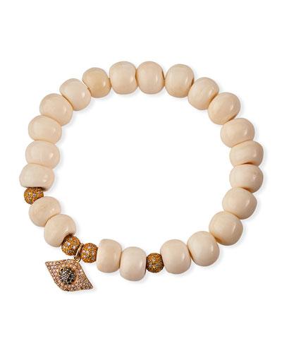 14k Diamond Evil Eye Bone Bead Bracelet