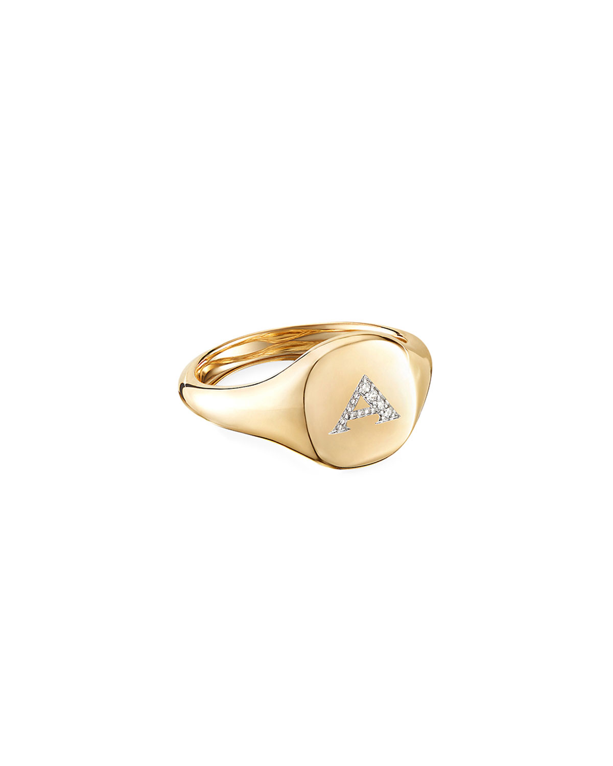 David Yurman Mini DY Initial A Pinky Ring in 18K Yellow Gold with Diamonds, Size 3.5