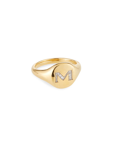 Image 1 of 2: David Yurman Mini DY Initial M Pinky Ring in 18K Yellow Gold with Diamonds, Size 3.5