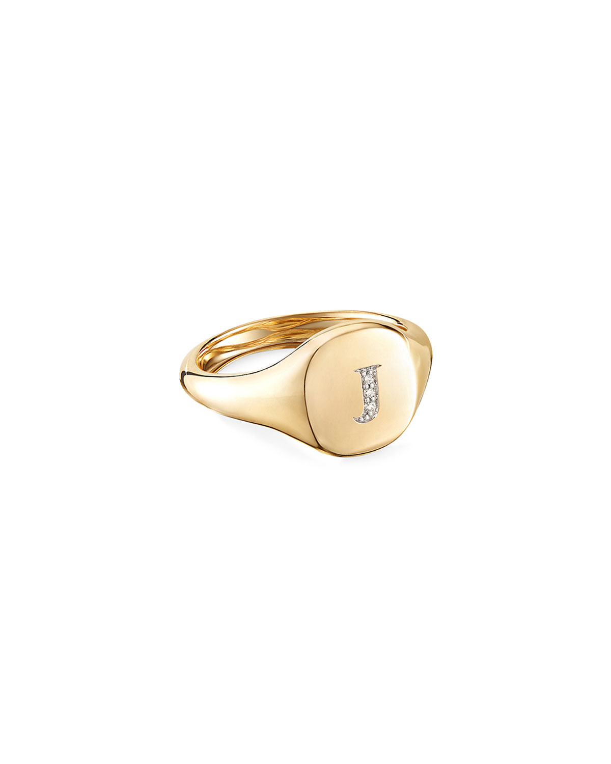 David Yurman Mini DY Initial J Pinky Ring in 18K Yellow Gold with Diamonds, Size 3