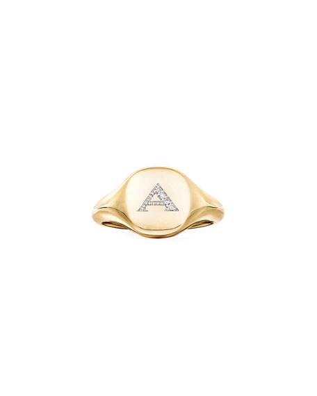 Image 2 of 3: David Yurman Mini DY Initial A Pinky Ring in 18K Yellow Gold with Diamonds, Size 4.5