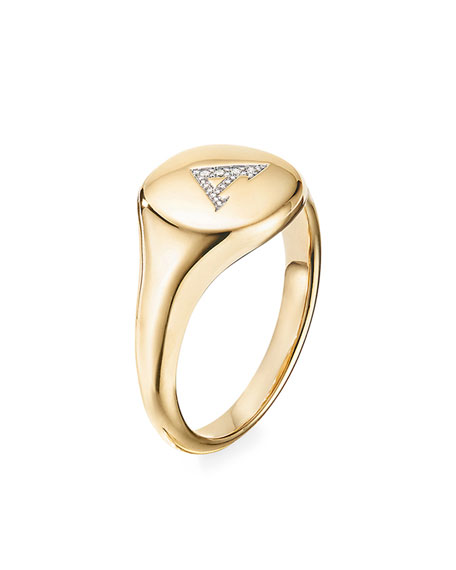 Image 3 of 3: David Yurman Mini DY Initial A Pinky Ring in 18K Yellow Gold with Diamonds, Size 4.5