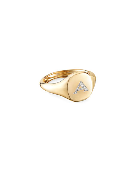 Image 1 of 3: David Yurman Mini DY Initial A Pinky Ring in 18K Yellow Gold with Diamonds, Size 4.5